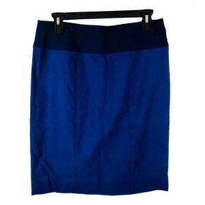 NWT CAbi 934 blue pencil skirt constrast waist 8
